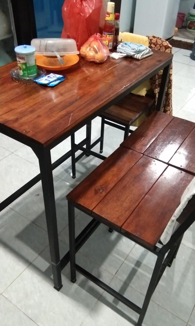 Meja Makan Minimalis Kayu Asli Ala Cafe Home Furniture On