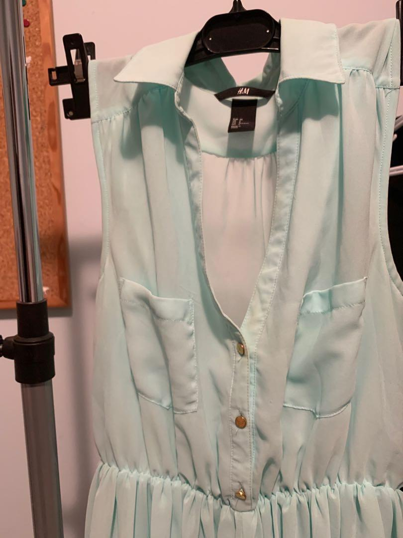 Mint collared v neck spring dress