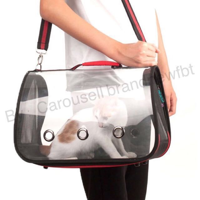 a724e91739 Pet Carrier transparent pet bag sling bag foldable dog bag cat bag, Pet  Supplies, For Cats, Cat Accessories on Carousell