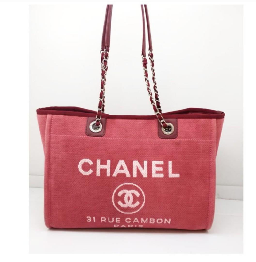 Preloved chanel deauville medium tote red fanta shw #20 (bag,holo, db pengganti)