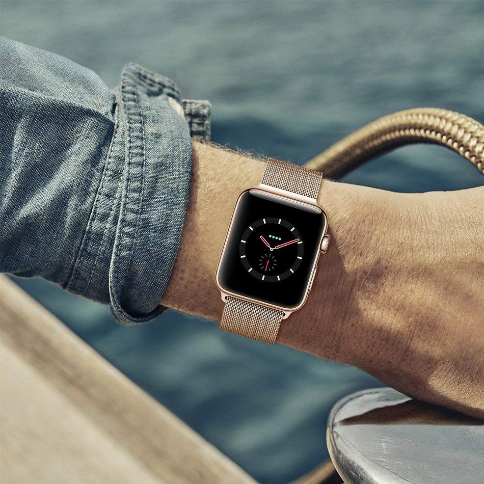 premium selection af42b 31b83 [READY STOCK] IWatch strap with rose gold milanese loop stainless steel for  apple watch series 1-4, 38mm/40mm/42mm/44mm
