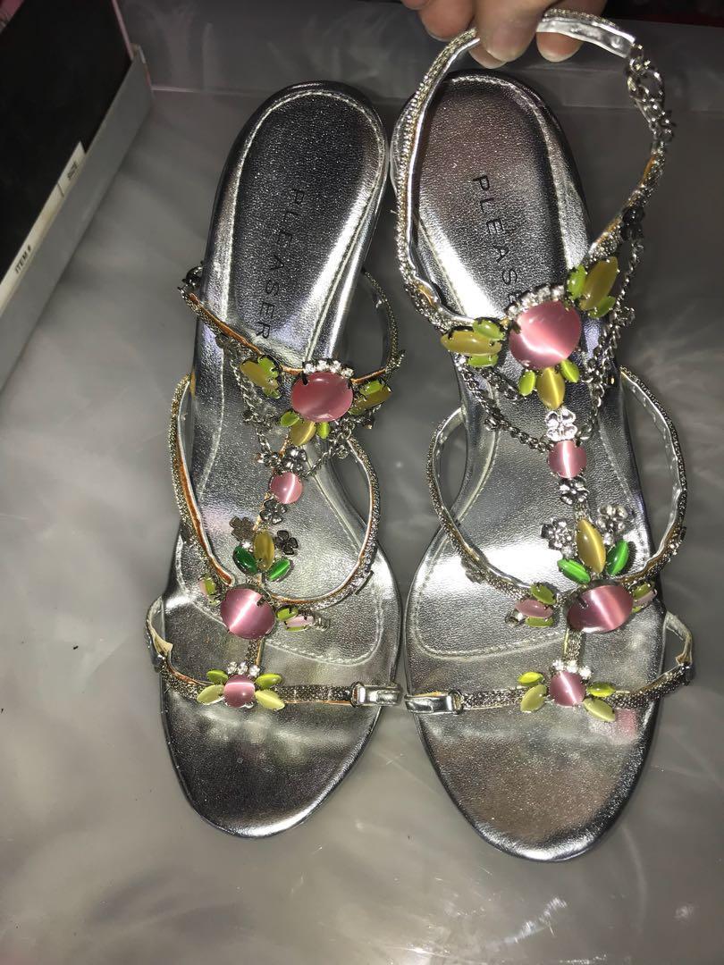 Silver Stilettos with Jewel Embellishments