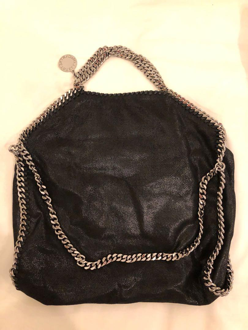 Stella McCartney Falabella Foldover Small Black Faux Leather Tote