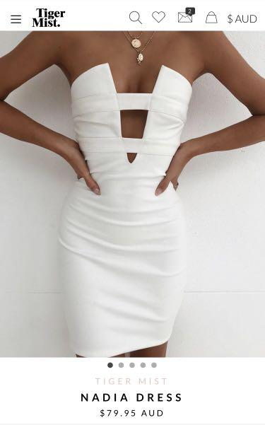 Tiger mist body con strapless dress white