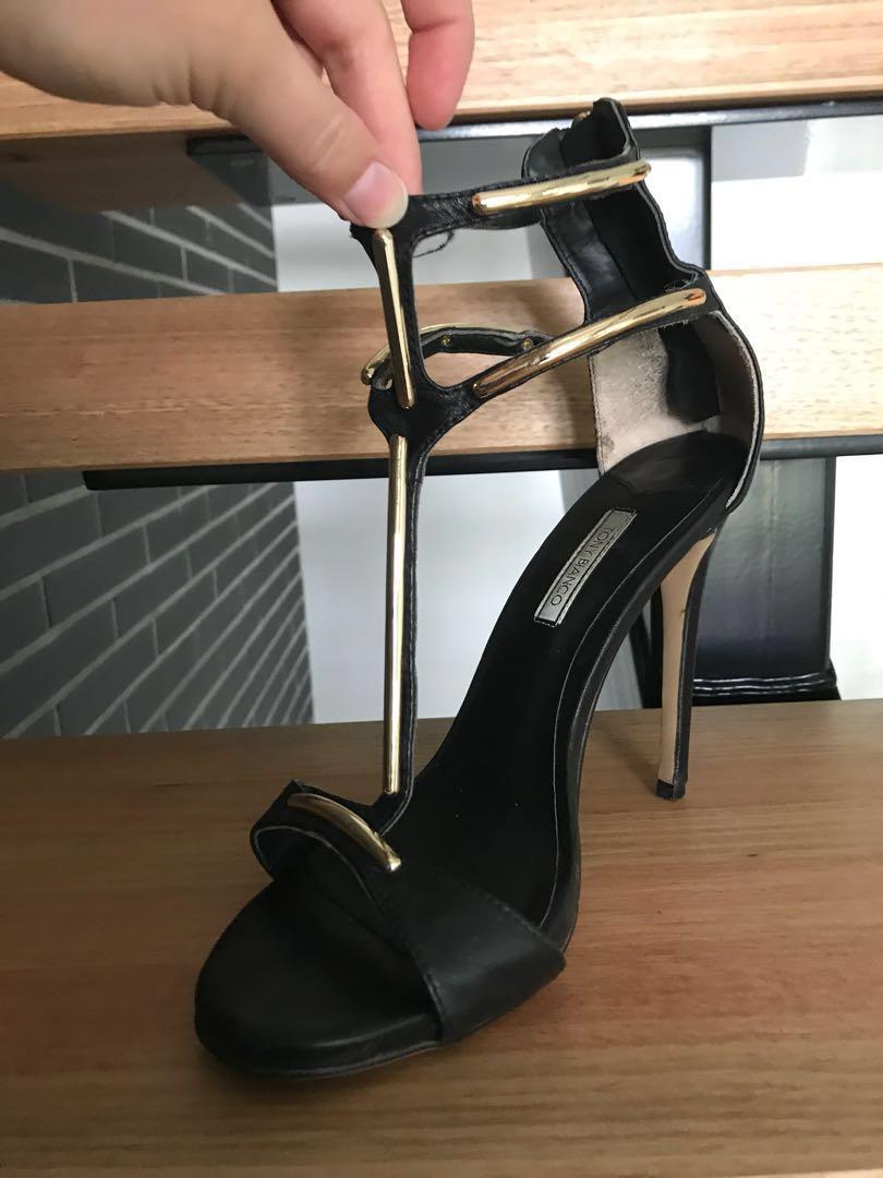 Tony Bianco worn once great condition black and gold stilettos