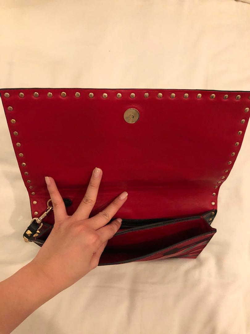 VALENTINO Nappa Canvas Camouflage Rockstud Flap Clutch Red