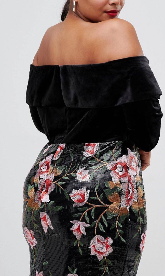 Velvet floral  black dress