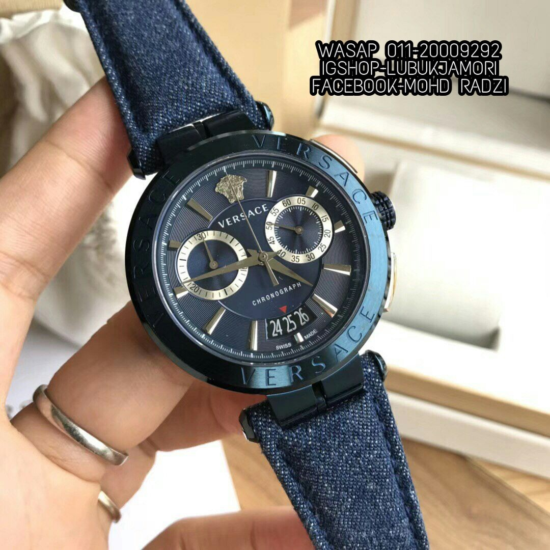 a39cc417d Versace Blue Denim Aion Chronograph Men's, Luxury, Watches on Carousell