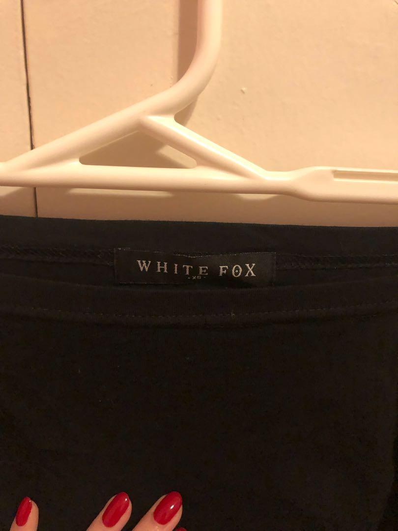 White fox off shoulder crop top