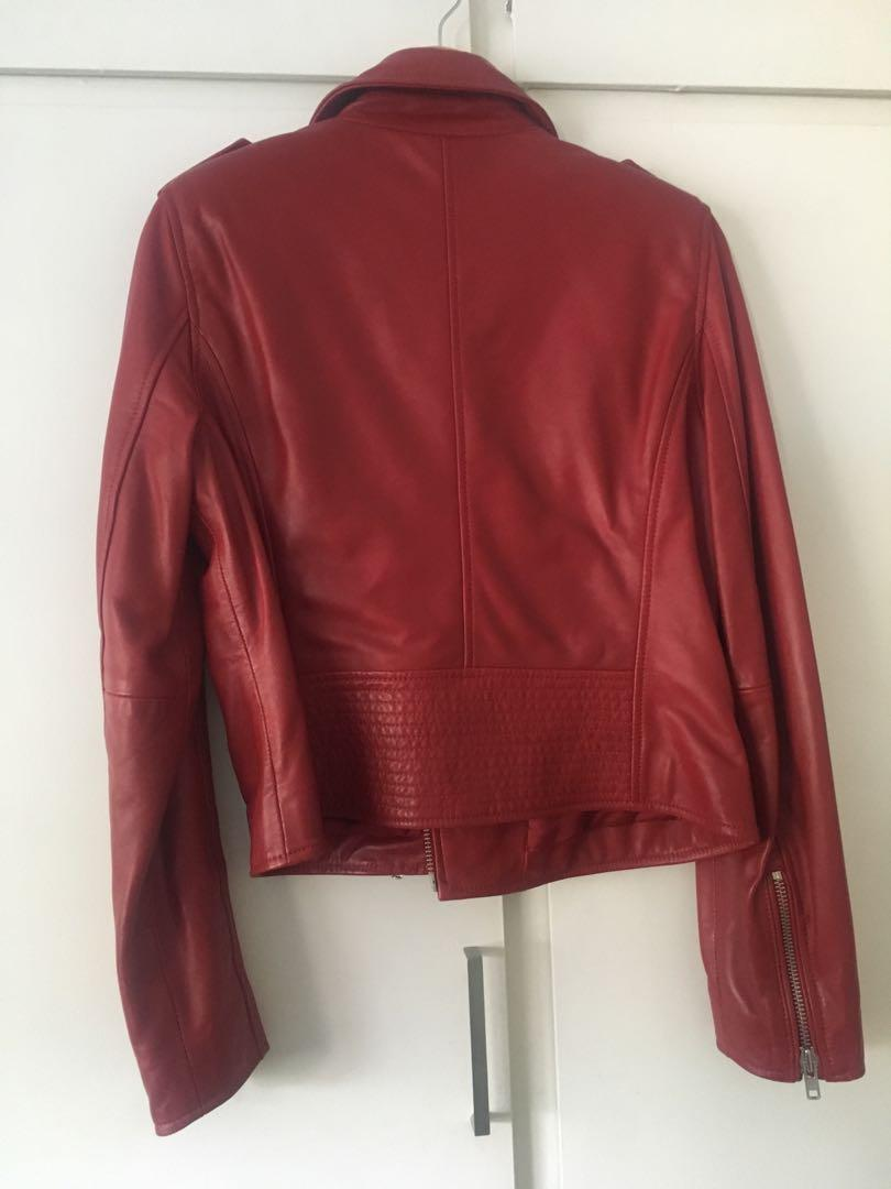 Witchery First Edition red leather jacket RRP 599 size 14