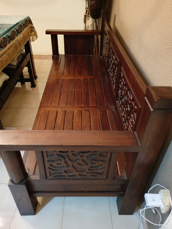 Wooden Sofa Furniture Sofas On Carousell