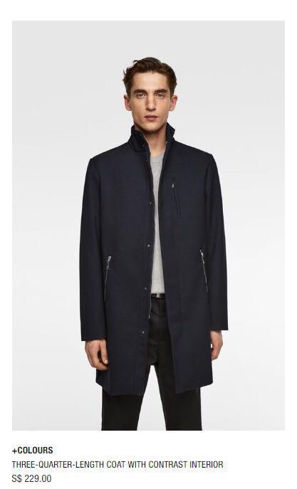 85750852 Zara Mens Coat, Men's Fashion, Clothes, Outerwear on Carousell