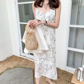 [PO] Minimalist Abstract Floral Line Art Midi Dress