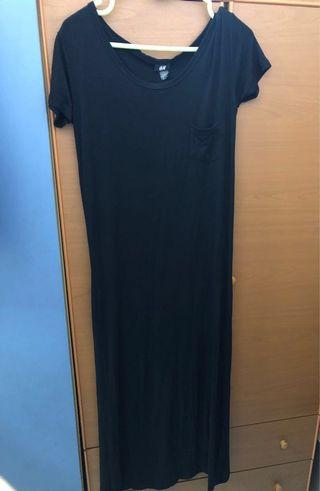 H&M basic black long dress