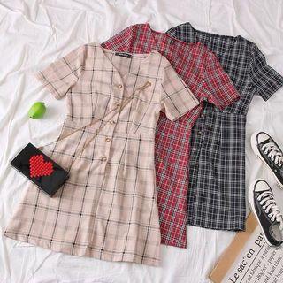 [PO] 90s Plaid Button Down A-Line Dress