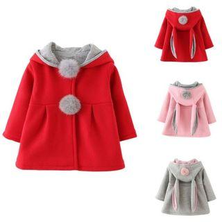 ❴READY STOCK❵👶Toddlers Warm Cotton Fluffy Rabbit Ears Hooded Outerwear Coat