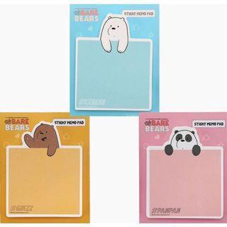 🚚 (現貨)熊熊遇見你 阿極 便利貼 韓國製 We Bare Bears 北極熊 咱們裸熊 留言 便簽 便條紙(80張)