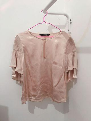 satin pink ruffle top