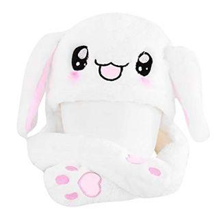🚚 White Bunny Ear Moving Hat