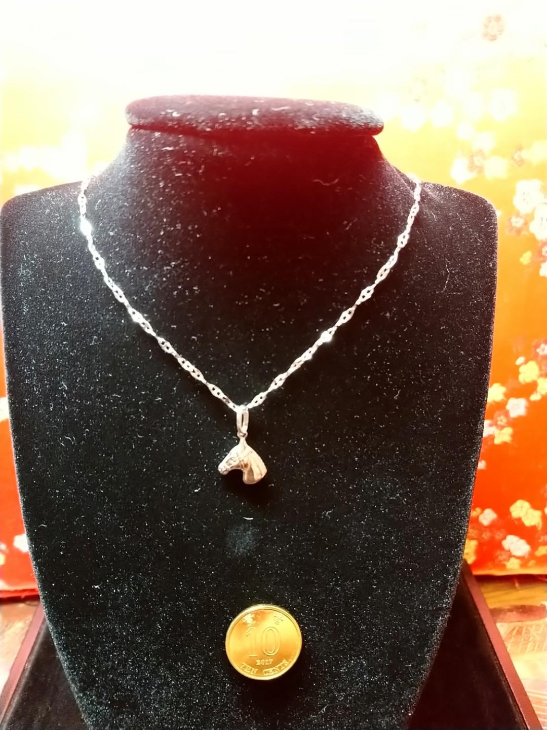 0078#18k necklace with horse pendant