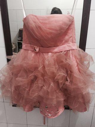 Gaun pink model kemben
