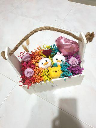 Tsumtsum with preserved roses & baby breaths planter set #EndGameYourExcess