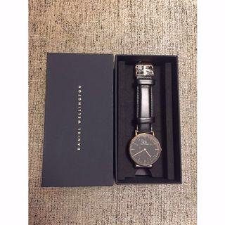 全新 Daniel Wellington 黑色皮質表帶手錶