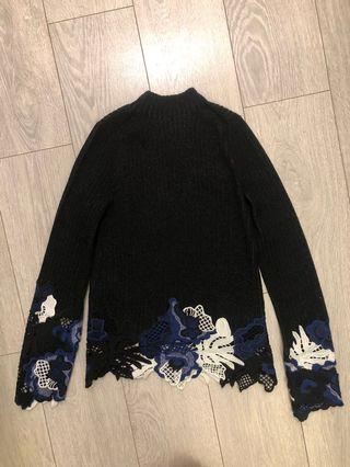 2 piece Black Wool Sweater with white blue Lace set (top + skirt)
