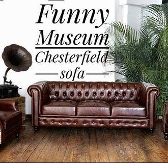 🚚 Chesterfield brown distress Leather Sofa