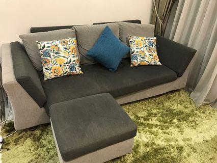 Two tone 3 seater sofa with chaise