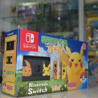 (全新復活節優惠套裝) Switch Pokemon Let's Go! 寵物小精靈限定版主機 連 遊戲 及 精靈球控制器 行貨套裝 (比卡超) + 配件 + 贈品