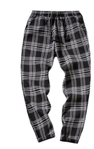 格子褲/工作褲/七分褲/5XL 全黑