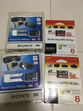 Sony Memory stick 4GB and 8GB