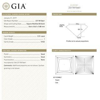 GIA Certified - 3.51ct I VVS2 PRINCESS CUT