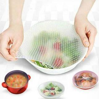 BN 3pcs Keep Food Stretch And Fresh Silicone Wraps Seal Cover Stretch Cling Film
