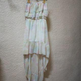 🚚 《九成新》粉彩渲染平口前短後長雪紡長洋裝