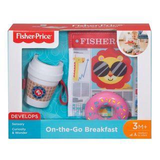 費雪 帶著走早餐組 嬰幼兒寶寶玩具 聲響報紙 杯子 甜甜圈