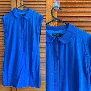 Ted Baker 100% silk blue shirt dress with Peter Pan collar