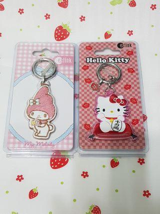 (2 Pcs) My Melody + Hello Kitty Prosperity Fortune Cat Limited Edition Ezlink Charms Bundle Set