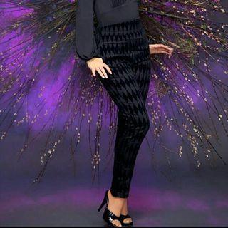 Pinup Girl LBC flocked harlequin black pants - Medium