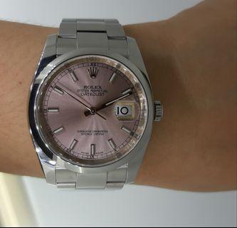 Rolex oyster perpetua mens watch 36mm pink face