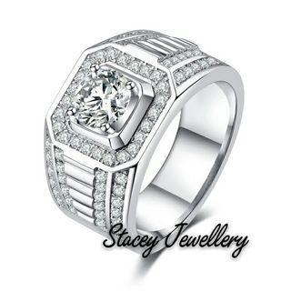 高碳鑽奢華男戒指