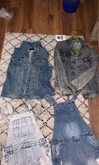 $20 PICK ANY OR ALL Dotti denim vest and jacket overalls