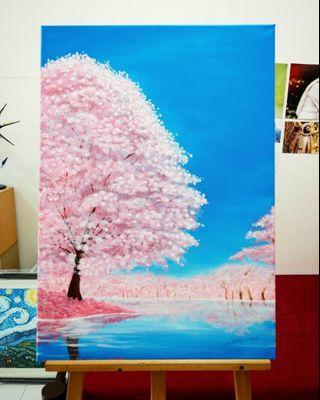 Acrylic Painting Sakura Tree