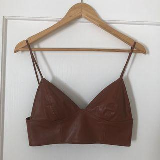 Bardot Faux Brown Leather Bralette Size 10
