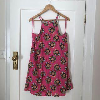 Pink Floral Halter Dress Size 12