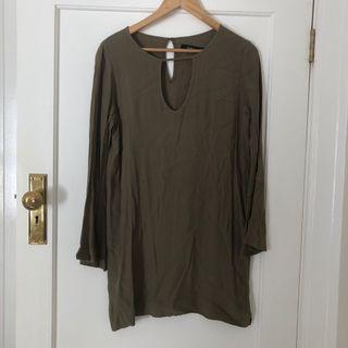 Nunui Khaki Long Sleeve Dress Size 8