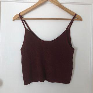 Metalious Red Knit Sparkle Crop Size S/M