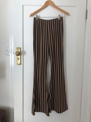 Pretty Little Thing Striped Flares Size 10