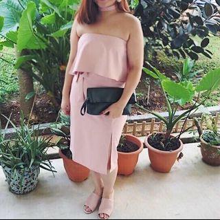 Tube Midi Dress in baby pink